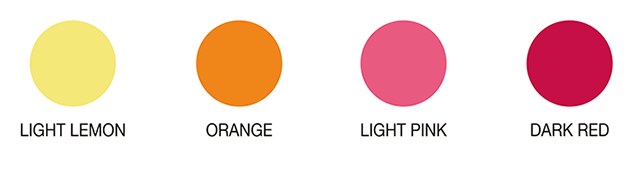 LIGHTORANGE ORANGE LIGHTPINK DARKPINK