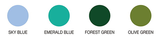 SKYBLUE EMERALDBULUE FORESTGREEN OLIVEGREEN